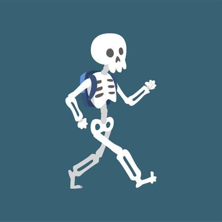 Human Skeleton Walking, Funny Dead Man Cartoon Character Vector Illustration