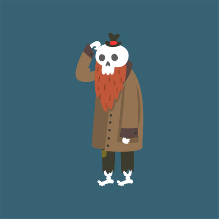Bearded Human Skeleton Wearing Warm Coat, Dead Man Cartoon Character Vector Illustration on Dark Background.