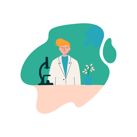 Male Scientist Biologist Character Wearing White Coat Working at Researching Lab with Microscope, Scientific Research Concept Vector Illustration on White Background.