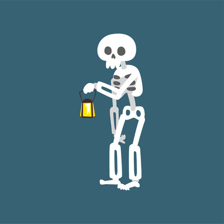 Human Skeleton Standing with Vintage Lantern, Dead Man Cartoon Character Vector Illustration on Dark Background. 일러스트