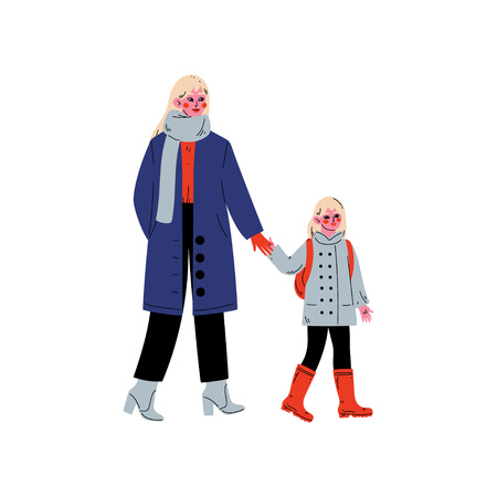 Mother Leading Her Daughter Student to School, Cute Boy and Her Mother Walking Together Vector Illustration on White Background.