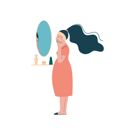 Attractive Brunette Pregnant Woman Applying Cream on her Face, Happy Pregnancy, Maternal Health Care Vector Illustration on White Background.