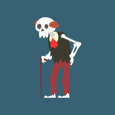 Senior Skeleton With Walking Stick, Elderly Dead Man Cartoon Character Vector Illustration