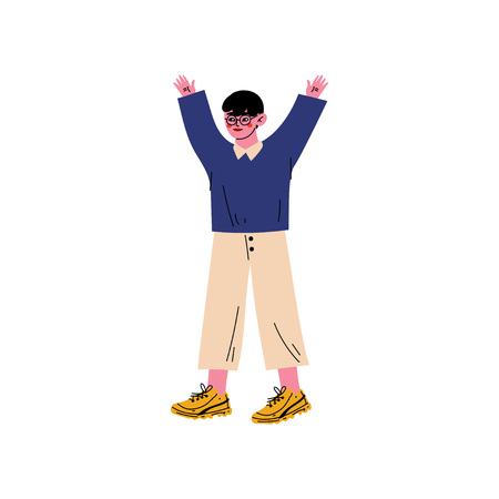 Boy Standing with His Arms Raised, Small Primary Student, Elementary School Pupil Vector Illustration on White Background.