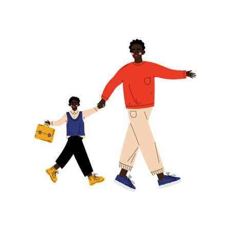 Father Leading His Son Student to School, Cute Boy and His Dad Walking Together Vector Illustration on White Background. Banque d'images - 123645146