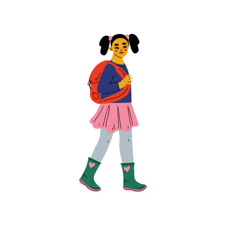 Girl in Casual Clothes Walking to School with Backpack, Primary Student, Elementary School Pupil Vector Illustration on White Background. Illustration