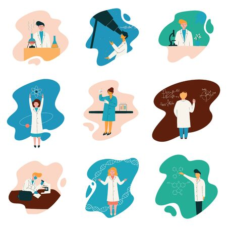 Scientists Characters Wearing White Coats Working at Researching Lab, Biologist Set, Physicist, Astronomer, Gene Engineer, Professor, Chemist, Scientific Research Concept Vector Illustration Ilustração