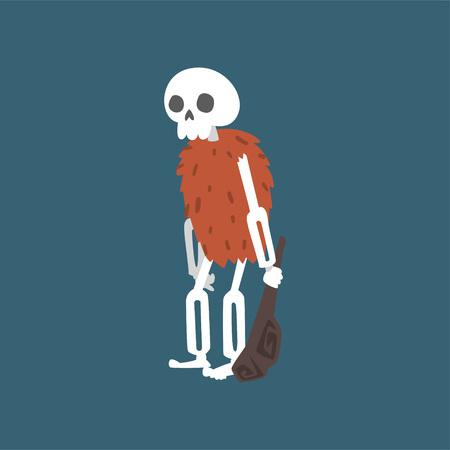 Prehistoric Human Skeleton with Truncheon, Zombie Dead Man Cartoon Character Vector Illustration on Dark Background.