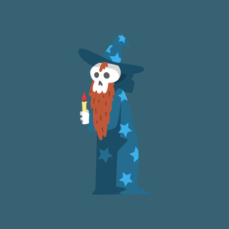 Bearded Skeleton Sorcerer, Funny Dead Man Cartoon Character Wearing Blue Mantle with Stars and Pointed Hat Vector Illustration on Dark Background.