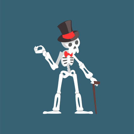 Skeleton Gentleman Weaing Top Hat and Bow Tie Standing with Walking Stick, Funny Dead Man Cartoon Character Vector Illustration on Dark Background.