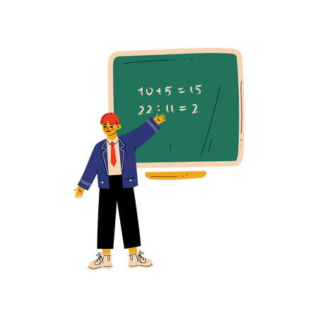 Elementary School Student Standing Next Chalkboard and Writing Mathematical Examples Vector Illustration on White Background. Stockfoto - 123645159