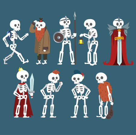 Human Skeletons Set, Funny Dead Man Zombie Cartoon Character in Different Poses and Situations Vector Illustration on Dark Background. Illustration