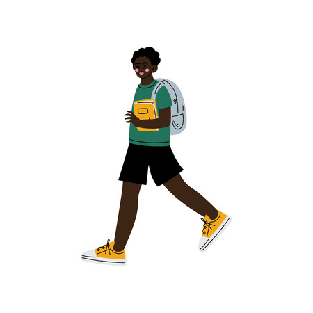 African American Boy Walking to School, Teenager Going to School with Backpack and Books Vector Illustration on White Background.