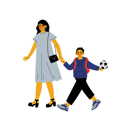 Mother Leading Her Son Student to School, Cute Boy and His Mom Walking Together Vector Illustration on White Background.