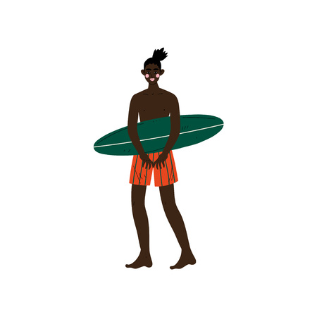 Male Surfer Standing on Beach with Surfboard, African American Man Enjoying Summer Vacation, Recreational Water Sport Vector Illustration on White Background