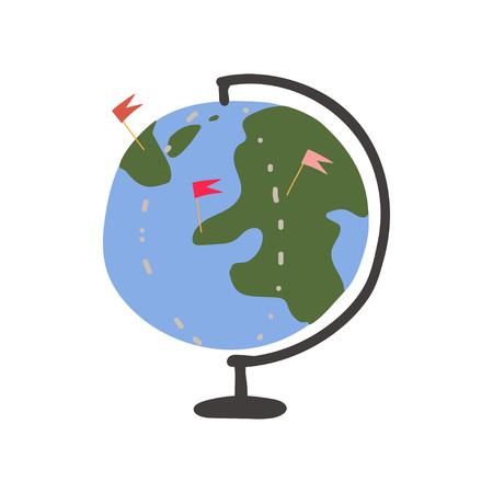 Earth Globe, Summer Travel Sign Symbol Vector Illustration on White Background. Foto de archivo - 123645176