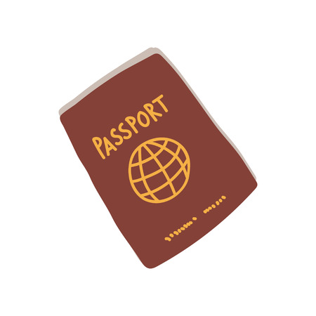 Passport, Red International Document, Travel Symbol Vector Illustration on White Background. Illustration