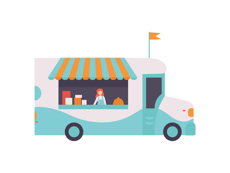 Van Shop with Fast Food, Drinks and Seller, Street Food Transport for Street Market Vector Illustration Isolated on White Background