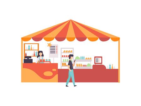 Straßenhändler-Stand mit Lebensmitteln, Süßigkeiten und Desserts, Markt-Lebensmittel-Theke mit Verkäufer-Vektor-Illustration auf weißem Hintergrund.