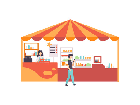 Street Vendor Booth with Food, Sweets and Desserts, Market Food Counter with Seller Vector Illustration on White Background.