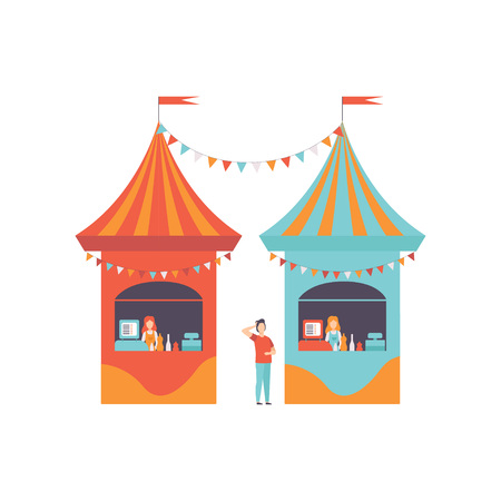 Street Vendor Booths with Fast Food, Market Food Counters, Retail Selling Kiosk, Local Market Vector Illustration on White Background.