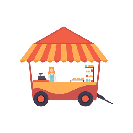 Cart with Burgers and Female Seller, Street Fast Food Transport, Mobile Shop Vector Illustration Isolated on White Background