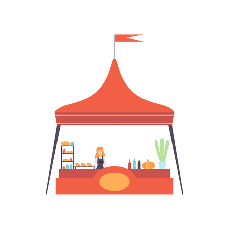 Street Market Stall with Fast Food and Seller, Market Food Counter Vector Illustration on White Background. Illustration