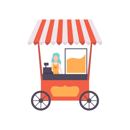 Popcorn Cart with Female Seller, Street Food Transport, Mobile Shop Vector Illustration Isolated on White Background
