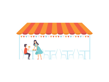 Street Cafe or Fast Food Bar under Canopy, Waitress Serving Visitor Vector Illustration on White Background.