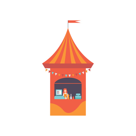 Street Vendor Booth with Fast Food and Seller, Market Food Counter, Retail Selling Kiosk Vector Illustration on White Background.