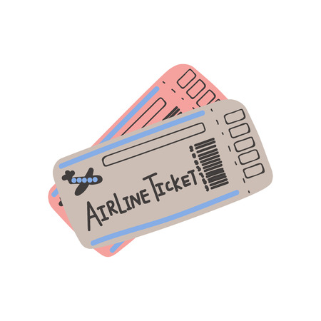 Two Airline Tickets, Boarding Pass, Travel Sign Symbol Vector Illustration on White Background.