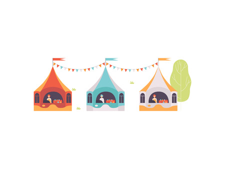 Street Vendor Booths with Food, Sweets and Desserts, Market Food Counters, Street Trading, Local Market Vector Illustration on White Background.
