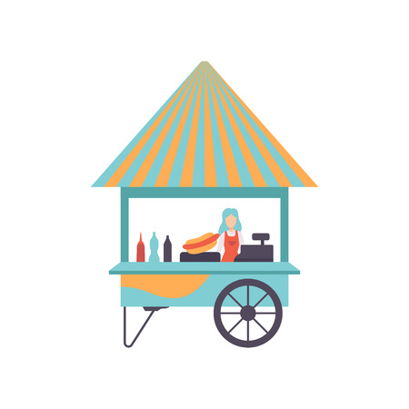 Hot Dog Cart with Seller, Street Food Cart, Mobile Shop Vector Illustration Isolated on White Background Stock Vector - 123645198