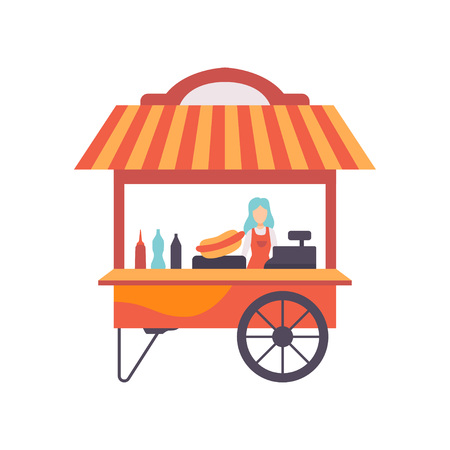 Cart with Hot Dogs and Female Seller, Street Fast Food Transport, Mobile Shop Vector Illustration Isolated on White Background Stock Vector - 123645199
