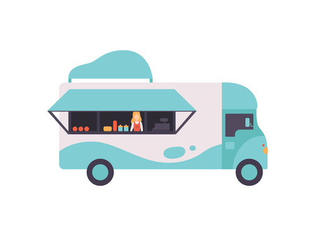 Van Bus Shop with Fast Food and Seller, Food Transport for Street Market Vector Illustration Isolated on White Background Illustration