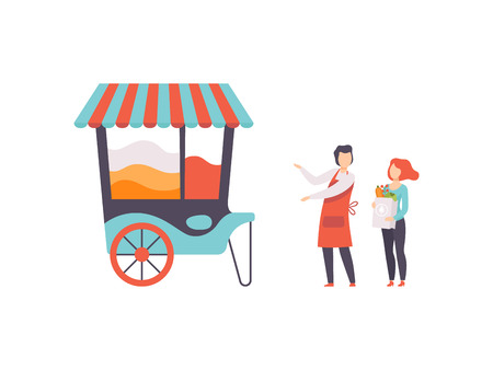 Popcorn Cart, Street Food Store on Wheels with Seller and Buyer, Mobile Shop, Vector Illustration Isolated on White Background Stock Vector - 123645202