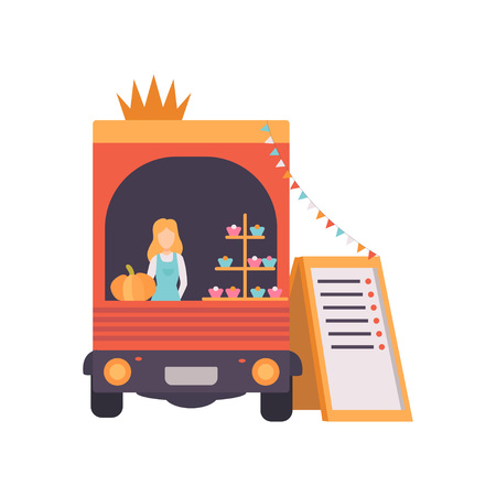 Van Shop with Fast Food, Drinks and Female Seller, Food Transport for Street Market Festival Vector Illustration Isolated on White Background Stock Vector - 123645203