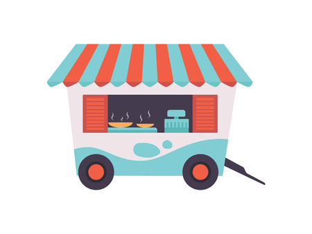 Street Fast Food Store on Wheels, Mobile Food Trailer Vector Illustration Isolated on White Background