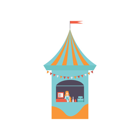 Street Vendor Booth with Fast Food, Market Food Counter, Retail Selling Kiosk Vector Illustration on White Background.