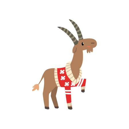 Goat symbol of New Year, cute animal of Chinese horoscope in Santa Claus costume vector Illustration isolated on a white background. Illustration