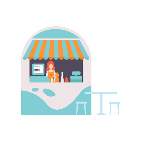 Street Vendor Booth with Fast Food, Sweets and Desserts, Market Food Counter with Canopy and Female Seller Vector Illustration on White Background. Çizim