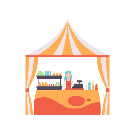 Market Food Counter with Fast Food and Female Seller, Street Trading Retail Stall Vector Illustration on White Background.