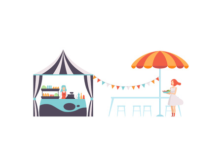 Street Food Stall with Seller, Park Cafe or Fast Food Bar with Umbrella Vector Illustration on White Background.