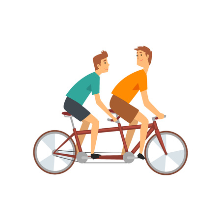 Two Men Riding Tandem Bike, Male Cyclists Characters on Bicycle Vector Illustration on White Background.