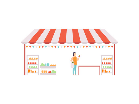 Market Food Counter, Street Trading Retail Stall with Grocery Goods Vector Illustration on White Background.