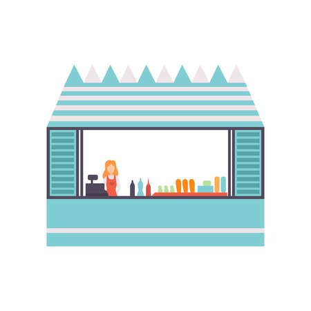Street Food Stall with Fast Food and Female Seller, Retail Street Selling Kiosk Vector Illustration on White Background.