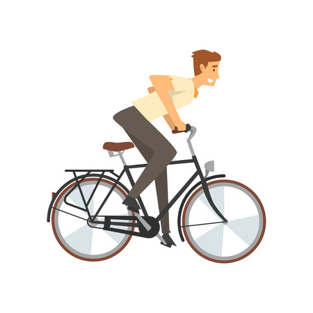 Mann, der Fahrrad schnell reitet, männlicher Radfahrer-Charakter auf Fahrrad-Vektor-Illustration