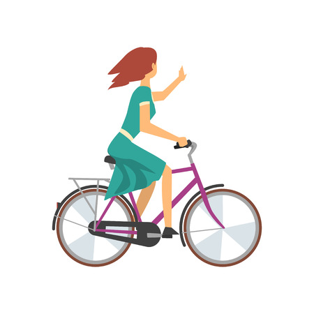 Young Woman in Green Dress Riding Bike and Waving Her Hand, Female Cyclist Character on Bicycle Vector Illustration on White Background. Ilustrace