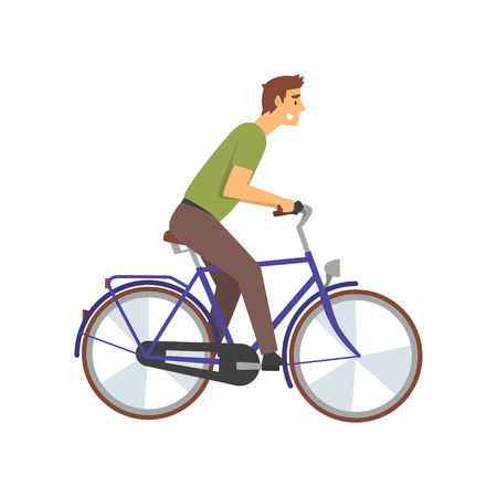 Aktiver junger Mann, der Fahrrad fährt, männlicher Radfahrer-Charakter auf Fahrrad-Vektor-Illustration