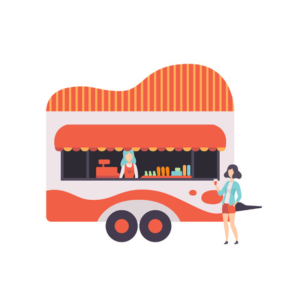 Fast Food Trailer with Seller, Street Food Transport, Mobile Shop Vector Illustration Isolated on White Background Ilustração